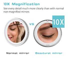 Beautural 10X Magnifying Lighted Vanity Makeup Mirror with Natural
