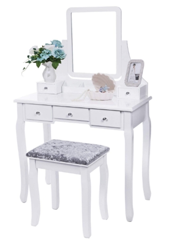 BEWISHOME Vanity Set with Mirror & Cushioned Stool Dressing Table Va