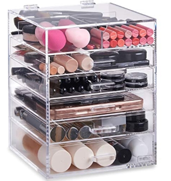 Beautify Large 6 Tier Clear Acrylic Cosmetic Makeup Cube Organizer w