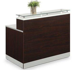 Esquire Glass Top Reception Desk 63_W x 32_D Mahogany Laminate_Silve