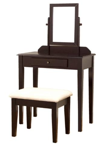 Frenchi Furniture Wood 3 Pc Vanity Set in Espresso Finish_ Kitchen &