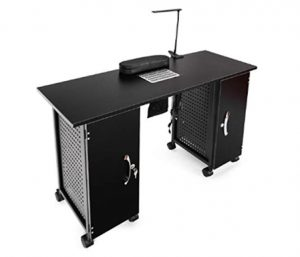 Giantex Manicure Nail Table Station Black Steel Frame Beauty Spa Sa