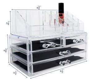 Ikee Design Acrylic Jewelry & Cosmetic Storage Display Boxes, 9.4 x