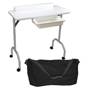 LCL Beauty Portable Folding 1-Drawer Manicure Table with Client Wris