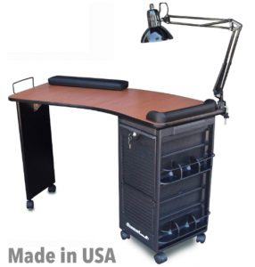 M600-DLX HF Manicure Nail Table Station w_CHERRY Laminated TOP Made