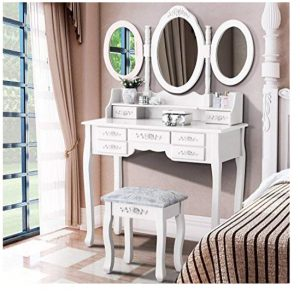 Mecor Vanity Table,Dressing Table Tri-Folding Mirror, Makeup Vanity