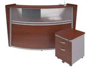 OFM Marque Series Plexi Single-Unit Curved Reception Station - Offic