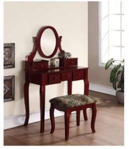 Roundhill Furniture Ashley Wood Make-Up Vanity Table and Stool Set,