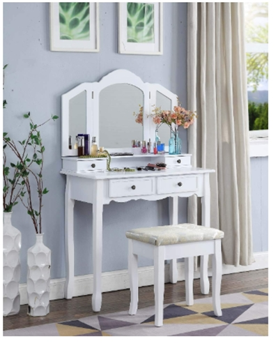 Roundhill Furniture Sanlo White Wooden Vanity, Make Up Table and Sto