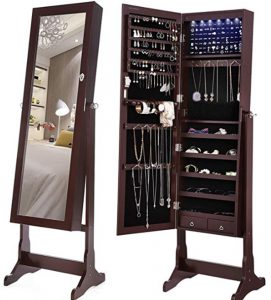 SONGMICS 6 LEDs Jewelry Cabinet Large Mirrored Jewelry Armoire Organ