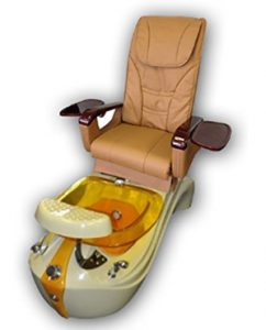 Tan and Gold Pedicure Spa Massage Chair with Free Stool_ Beauty