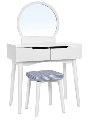 VASAGLE Vanity Table Set with Round Mirror 2 Large Sliding Drawers