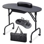 Yaheetech 37''L Portable & Foldable 1-Drawer Manicure Table Nail Te